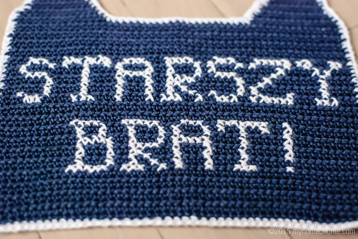 crochet bib with embroidery